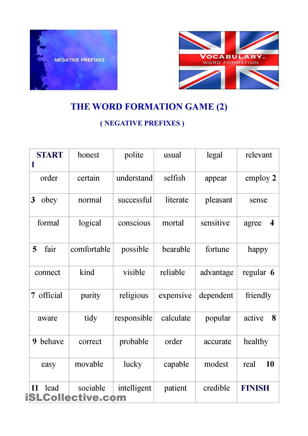 The word formation game 2 negative prefixes word formation the word formation game 2 negative prefixes robcynllc Images