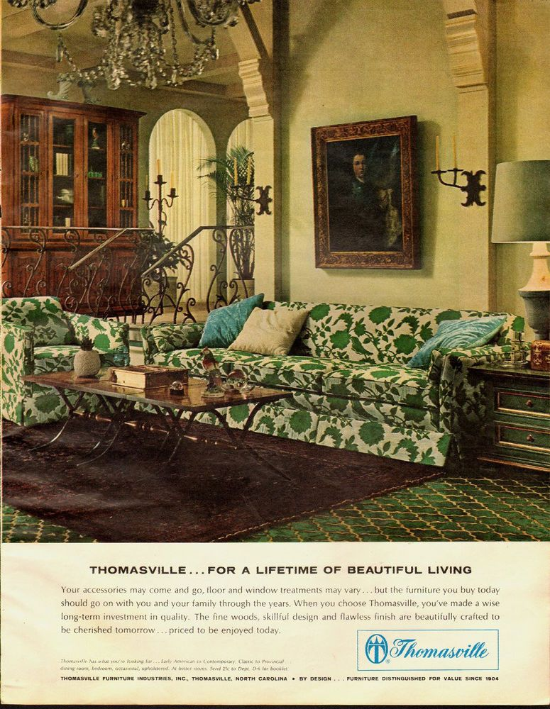 1965 Vintage Ad For Thomasville Furniture 60 S Retro Living Room Scene 022214