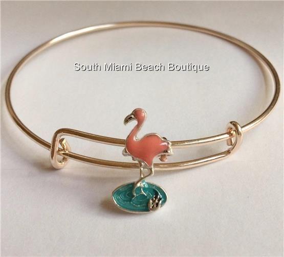 STERLING SILVER NAUTICAL MIAMI BEACH FLAMINGO/'S ART DECO BIRDS PENDANT NECKLACE