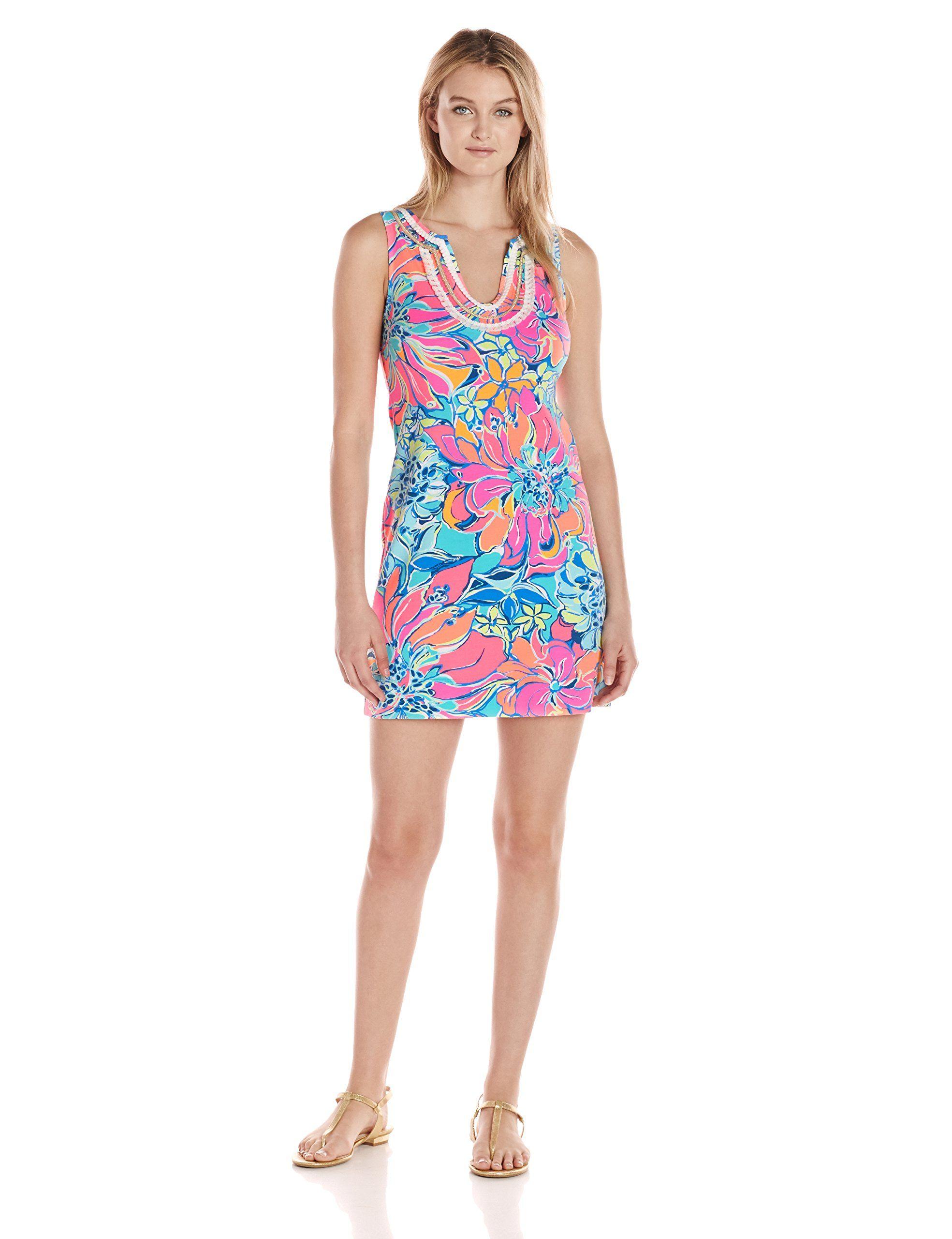 0635910296 Lilly Pulitzer Women's Harper Shift, Seaside Aqua Breezy Babe, S ...