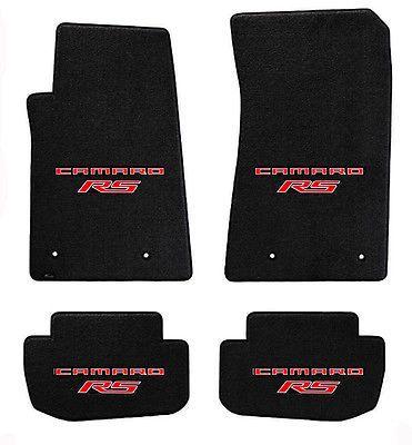 New Black Floor Mats 2014 2015 Camaro Embroidered Logo Rs In Red Double All 4 Camaro Black Floor Floor Mats