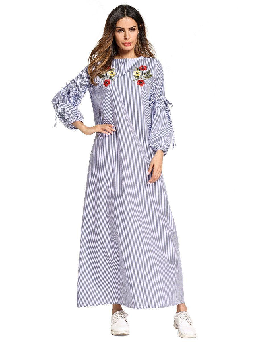 6709f21b29 STRIPE ABAYA MUSLIM Women Long Sleeve Dress Casual Kaftan Robe Maxi Gown  Ramadan - £18.98