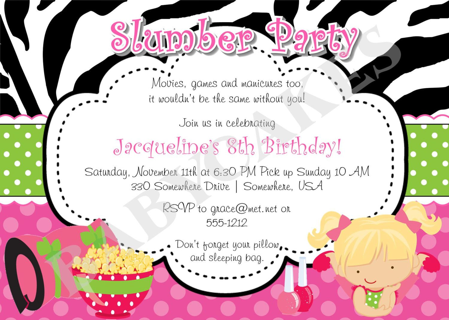 Slumber Party birthday Invitation invite Sleepover Pajama Party ...