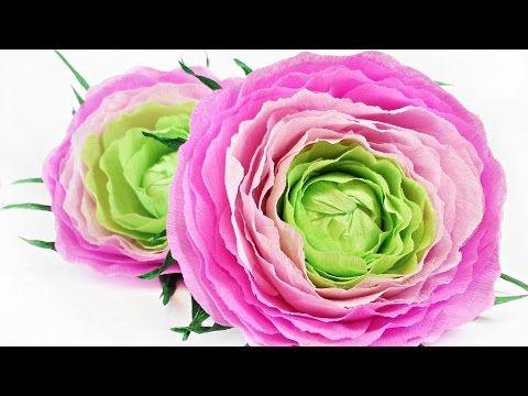 Ranunculus Rose Flower From Crepe Paper Tutorial Making