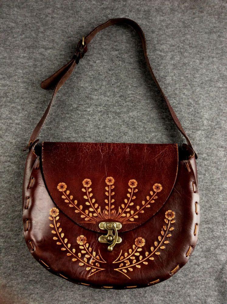 d5f391b7d4b9 Vintage Hand Tooled Dark Leather Purse Bag Brown Flower Hand Saddlebag Boho  Hipp  Handmade  ShoulderBag  Hippy  Boho