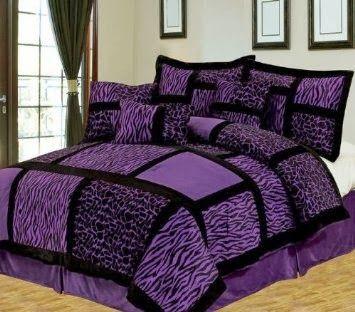 Purple Cheetah Print 7pcs Queen Safari Purple And Black