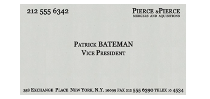 Buy an american psycho business card quote here the only question buy an american psycho business card quote here the only question will it say mergers and acquisitions or murders and executions reheart Gallery