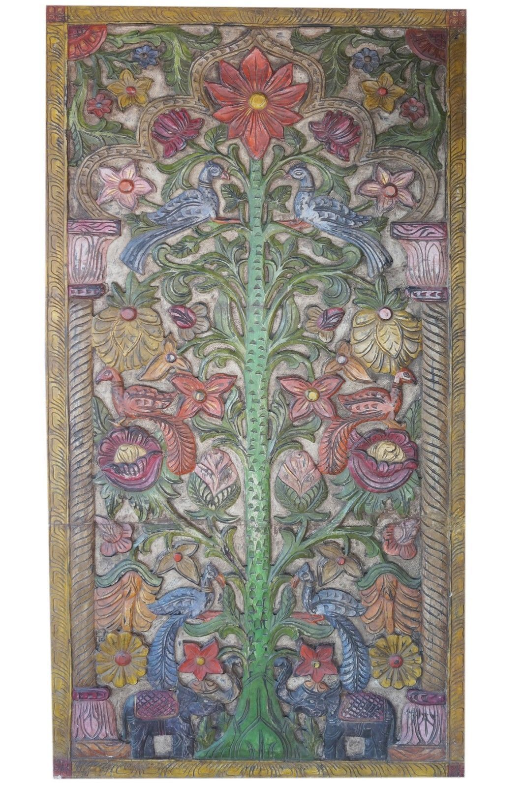 Vintage indian wall art hand carved floral relief panel wooden wall