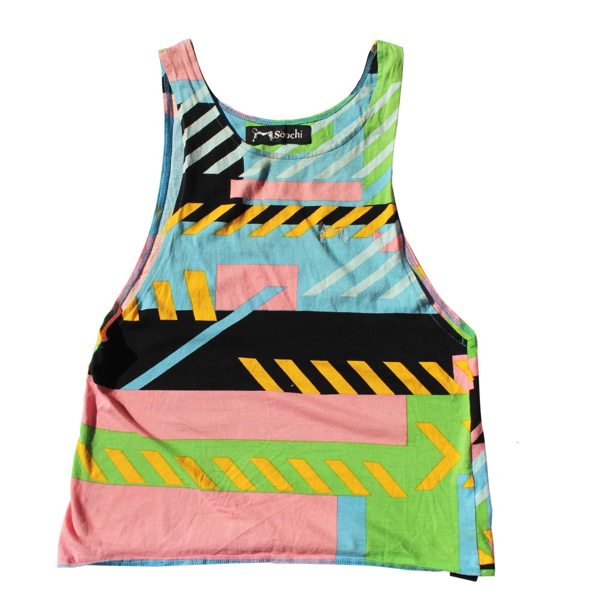 80s geometric neon pattern tank top by saachi in 2020