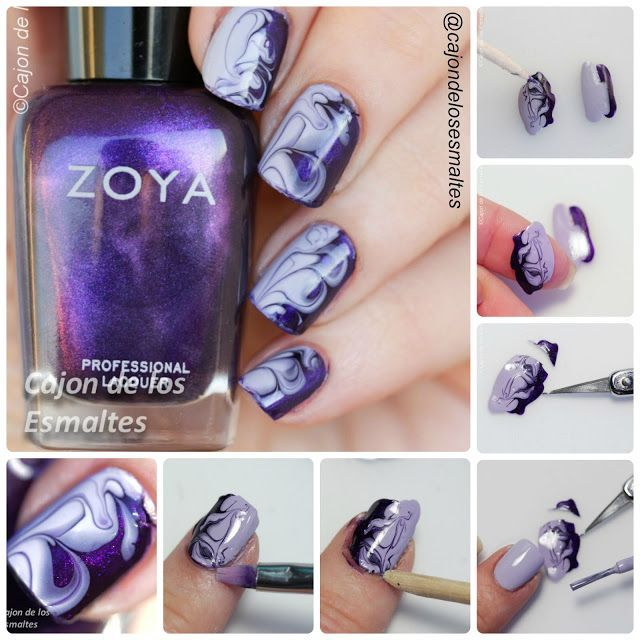 Step by step Tutorial - Dry marble nail art smoky purple nails Via ...