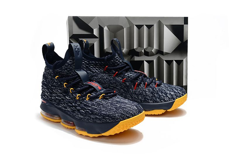 4072d1f01818 2018 Authentic New Style Nike LeBron 15 Mens Basketball Shoes Sneakers Deep Blue  Yellow Red