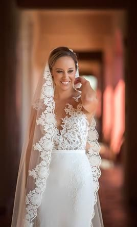 8a7d0441ec Pronovias Vicenta real bride. This wedding dress is for sale at 38% off  retail.