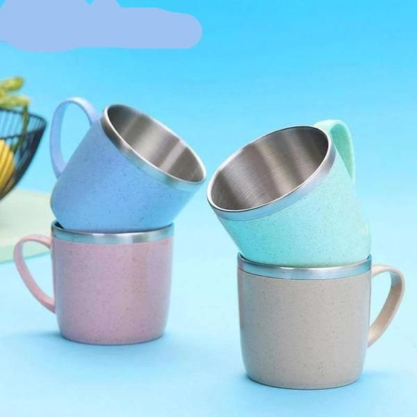 Creative Mini Mug 304 Stainless Steel Coffee Tea Cup Wheat Straw Water