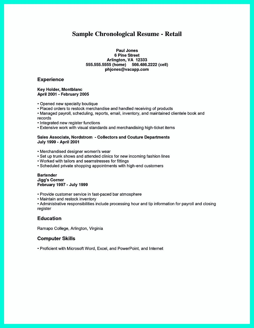 Chronological Resume Is Needed By People In Making Them Understand How To Write Good Resume In Good Order It Is The Most Commonly Applied Format Of R Check