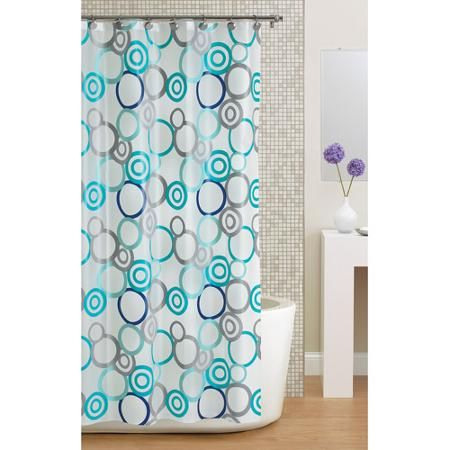 Shower Curtains christmas shower curtains walmart : Mainstays Circles PEVA Shower Curtain, Frosty | Curtains, Bathroom ...