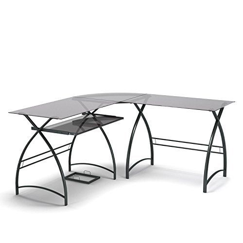 Walker Edison Soreno 3 Piece Corner Desk, Black With Black Glass