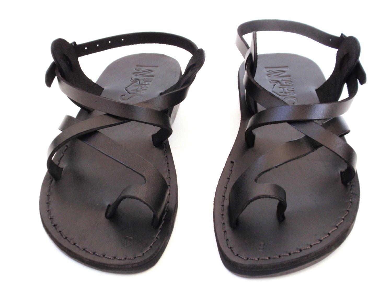 bc92140b06f19 SALE! New Arrival Black Leather Sandals JERUSALEM Men s Women Biblical  Shoes Thongs Flip Flops Flats Slides Slippers Colored Footwear Jesus by  Sandalimshop ...