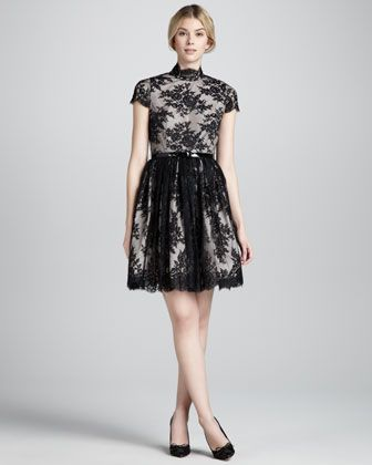 Jayna Lace Keyhole Dress, Black by Alice + Olivia at Neiman Marcus ...