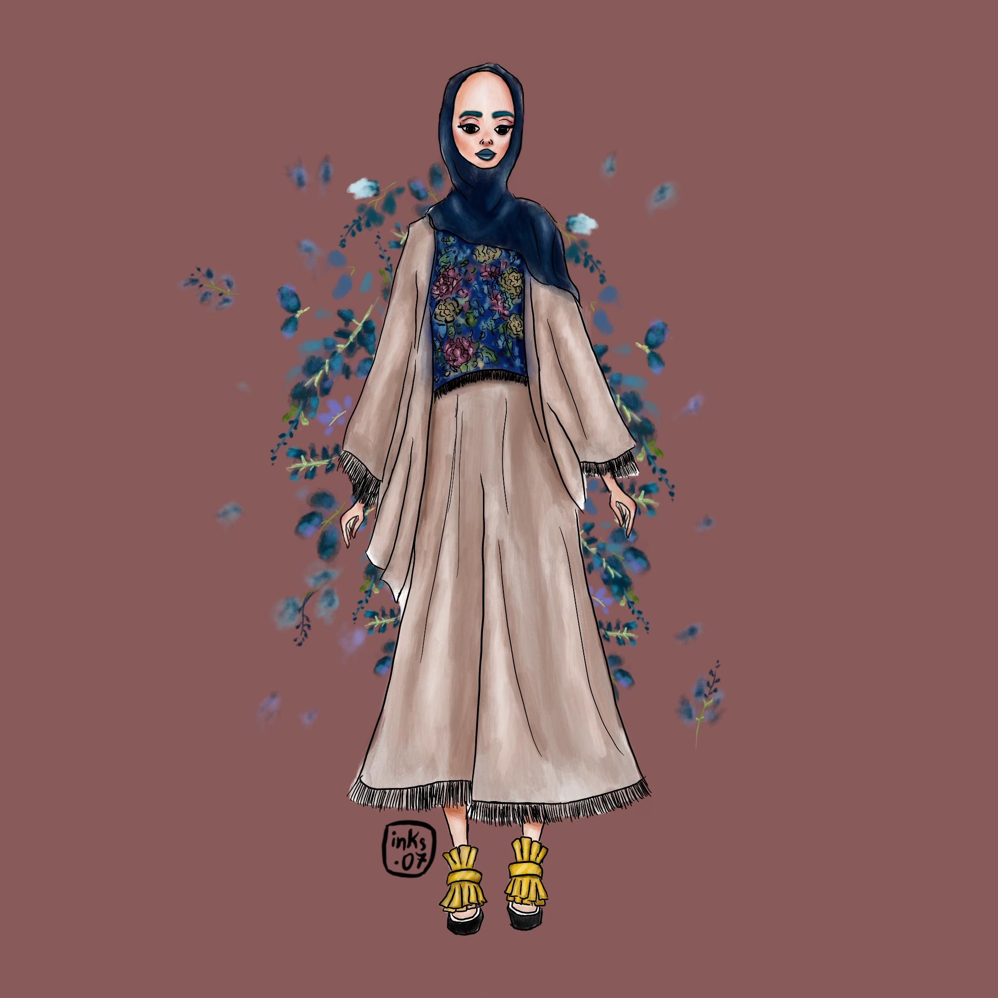 Muslimah dresses sketch image