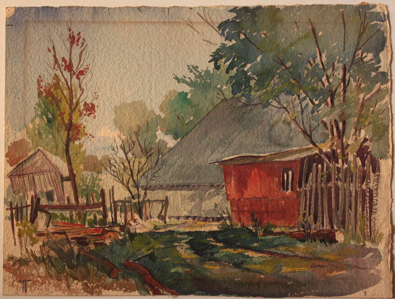 Watercolor artists in texas - Bud Biggs 1906 1985 1949 Landscape Watercolor By Well Listed Texas Watercolor Artist