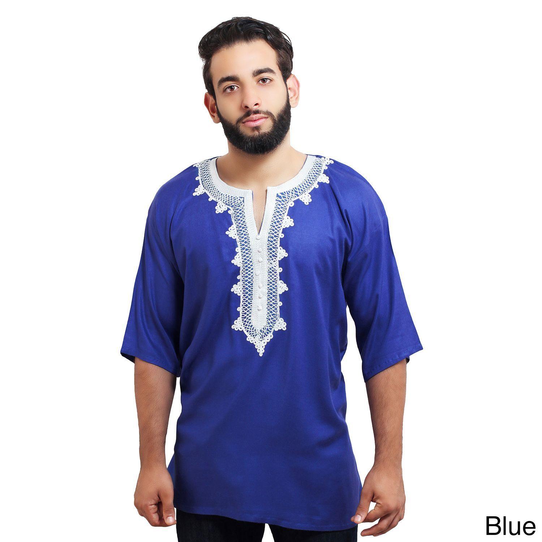 c563c847d2fcc Moroccan Breathable Fiber Cotton Handmade Embroidery Men s Ethnic Caftan  Tunic (Blue)