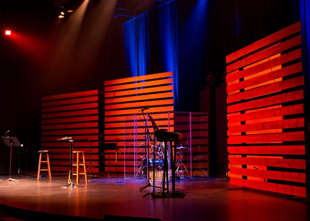 Wood Slat Wall Lighting Church Stage Design Church Stage Stage Design