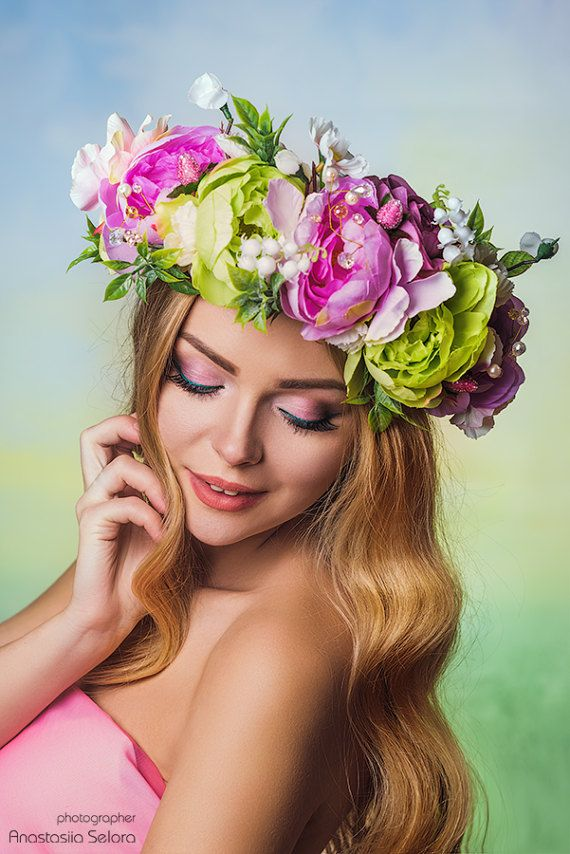Bridal Flower Crown Adult Floral Crown Spring Fairy Crown Boho Bridal Party  Wedding rustic wreath Br 11622983faf3