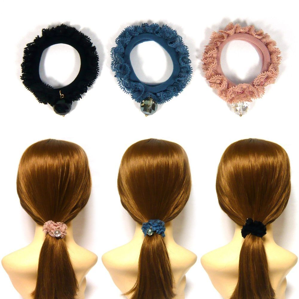 A Pretty Blue And Brown Beaded Hair Bobble//scrunchie