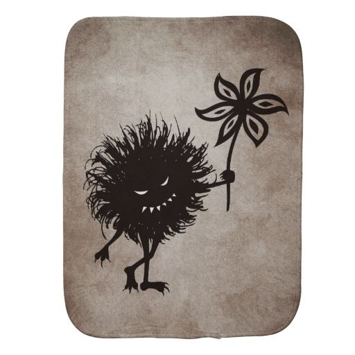 Dark Evil Bug Gives Flower Vintage Texture Burp Cloth $13.95 #baby #gothic