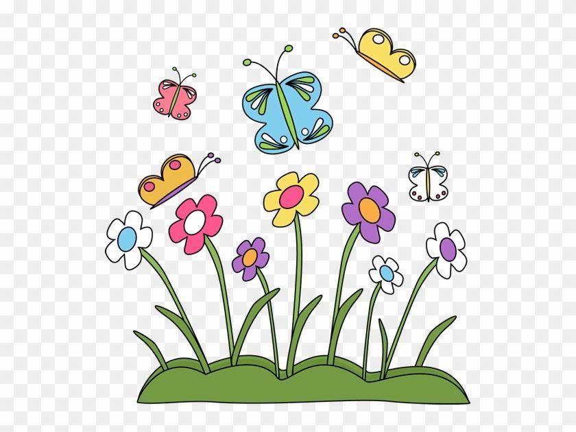 Spring Flowers And Butterflies Simple Drawing Of Spring Season 5974 Easy Drawings Flower Doodles Spring Flowers