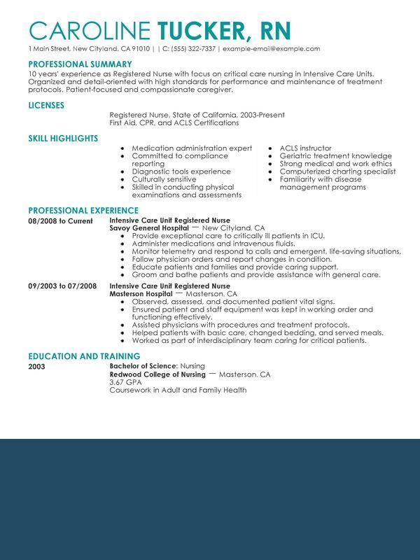 Nurse Resume Sample 2016 Jpg 600 800 With Images Nursing