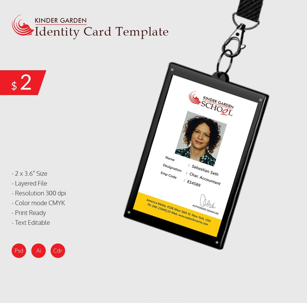 034 Template Ideas Employee Id Card Psd Free Download