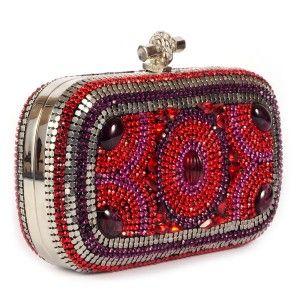 6b69d944b Bolso clutch de fiesta de cristales de Swarovski en color rojo www.sanci.es