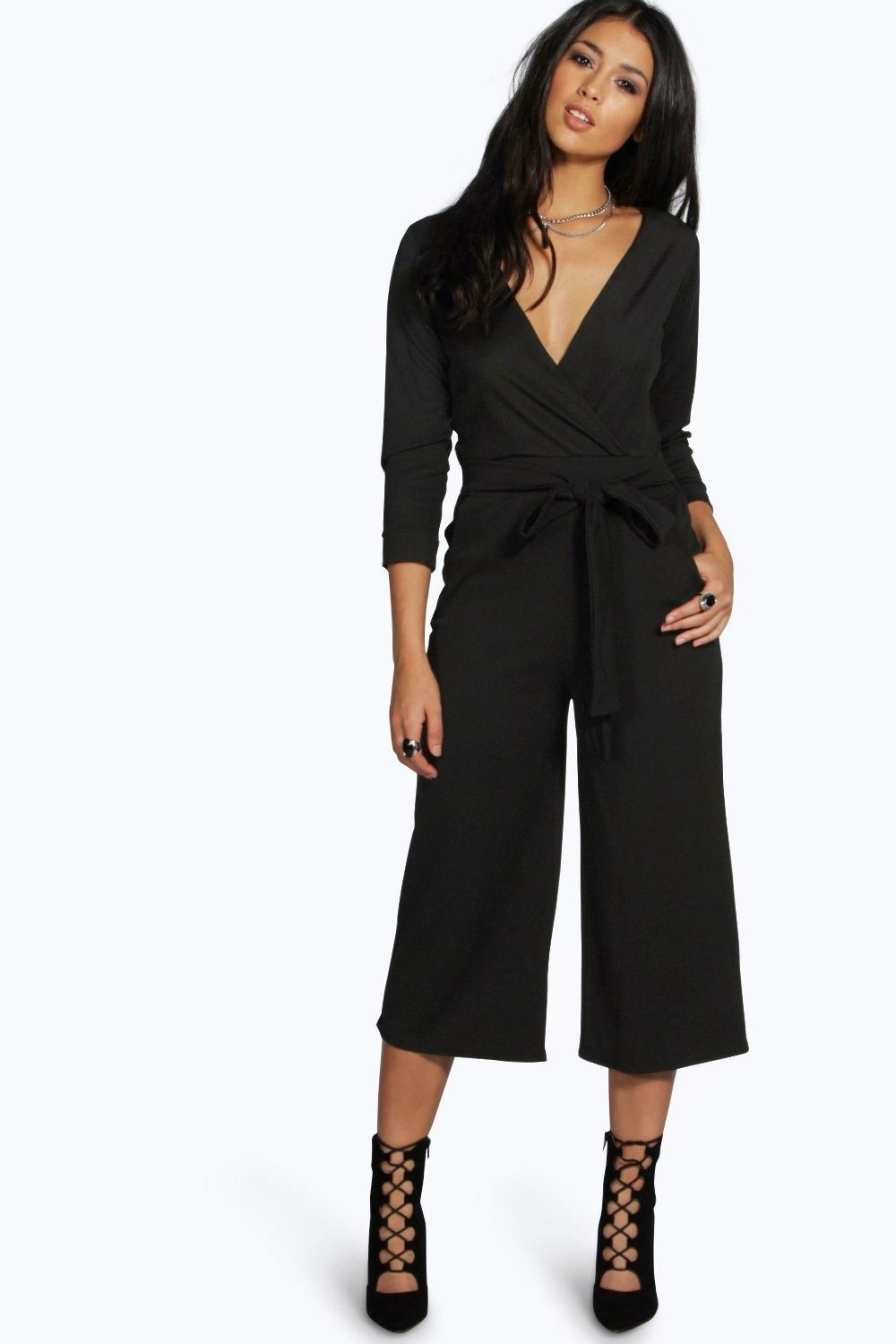 Roll Sleeve Relaxed Culotte Jumpsuit | Boohoo