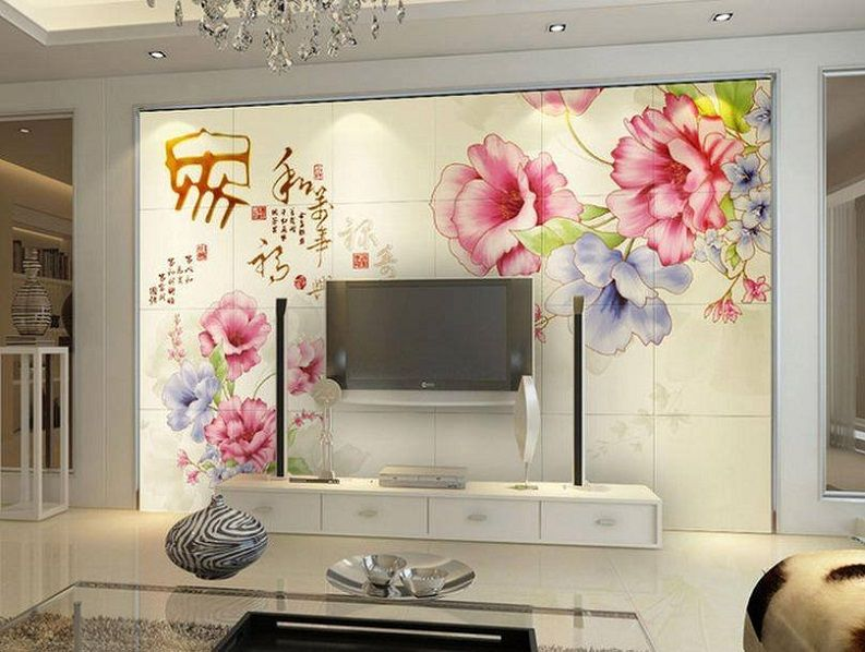 Wallpaper Design For Wall lcd tv cabinet with beautiful wallpaper design id853 - lcd cabinet