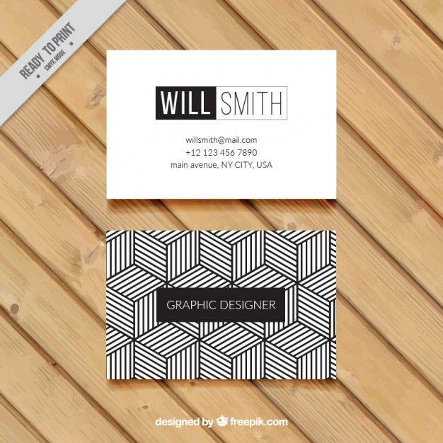 Carte De Visite Geometrique En Noir Et Blanc Vecteur Premium