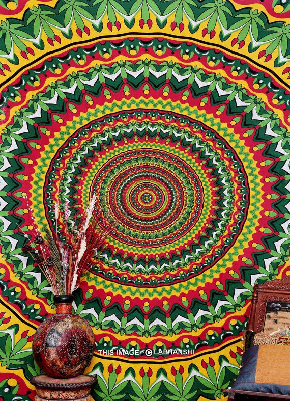 Psychedelic Pot Leaf Wall Tapestry, Bohemian Wall Hanging, New Age Dorm Bedding, Psy Mandala, Multi Mandala Tapestry, Indian Tapestry, Decor on Wanelo