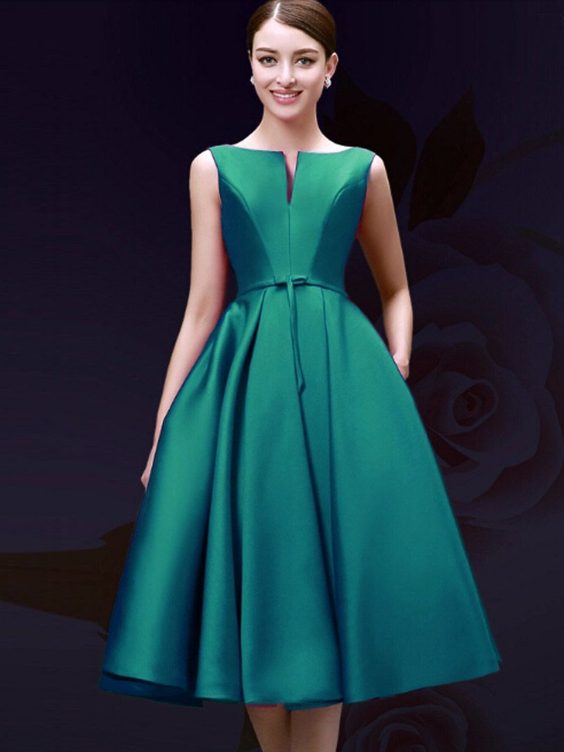 Green Plunge Neck Bowknot Waist Lacing Back Prom Skater Dress ...
