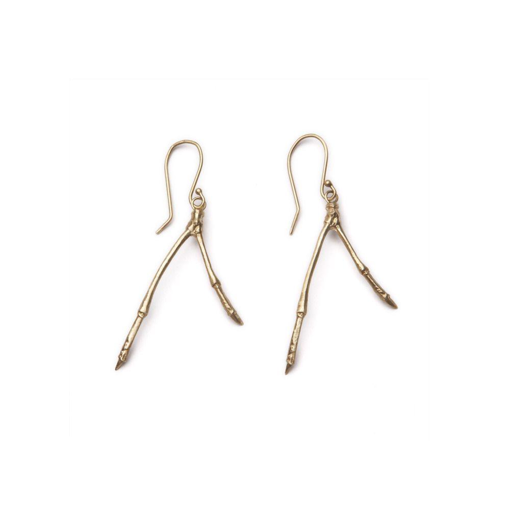 14k gold large double branch earrings