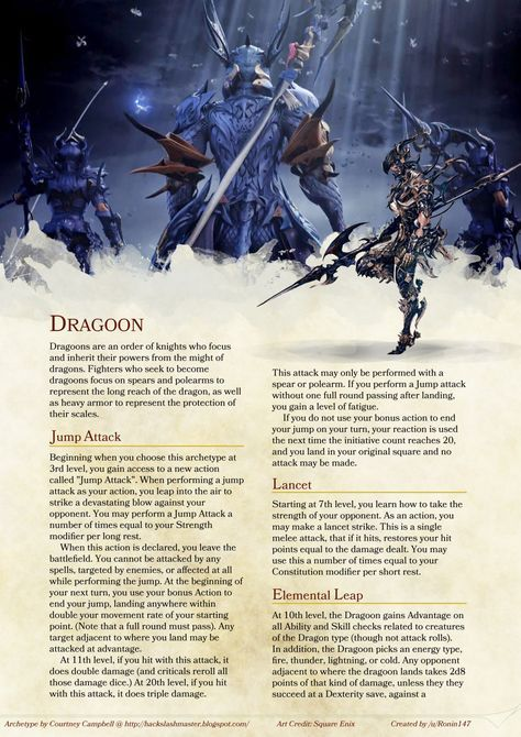 Homebrew material for 5e edition Dungeons and Dragons made