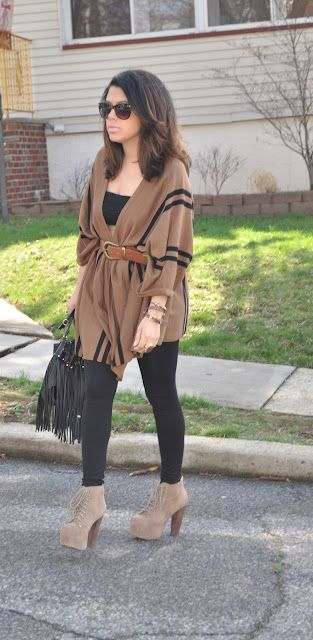 6ae3ff48a8f7 Belted Poncho. Want to get this look to work for me. It looks so warm and  comfy
