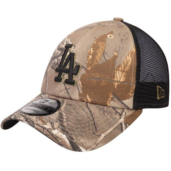 2c0e2c90635 Men s Los Angeles Dodgers New Era Camo Black Realtree Trucker 9FORTY  Adjustable Snapback Hat