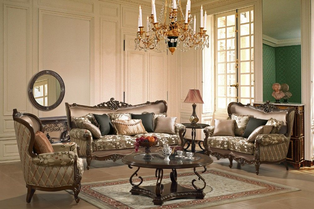 micado french style living room set - living room furniture