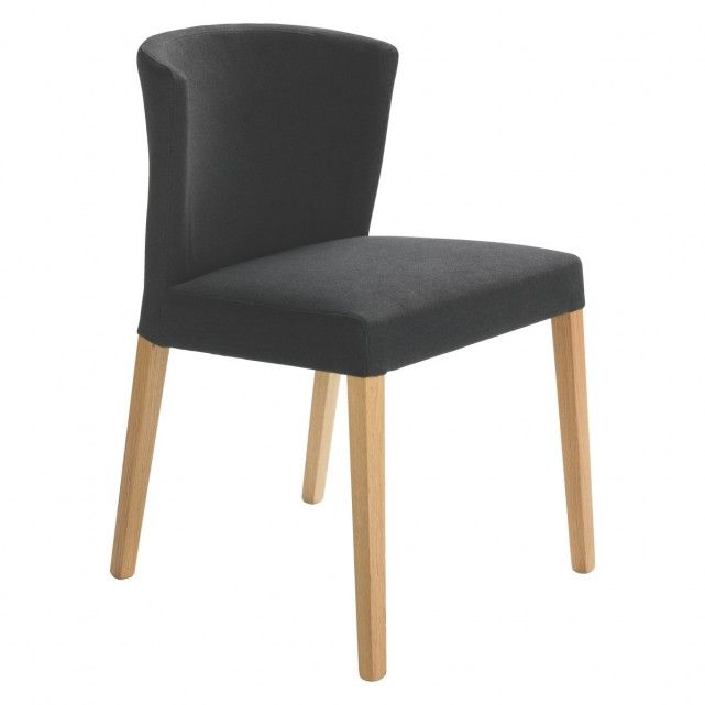 Valentina Dark Grey Upholstered Dining Chair With Oak Legs