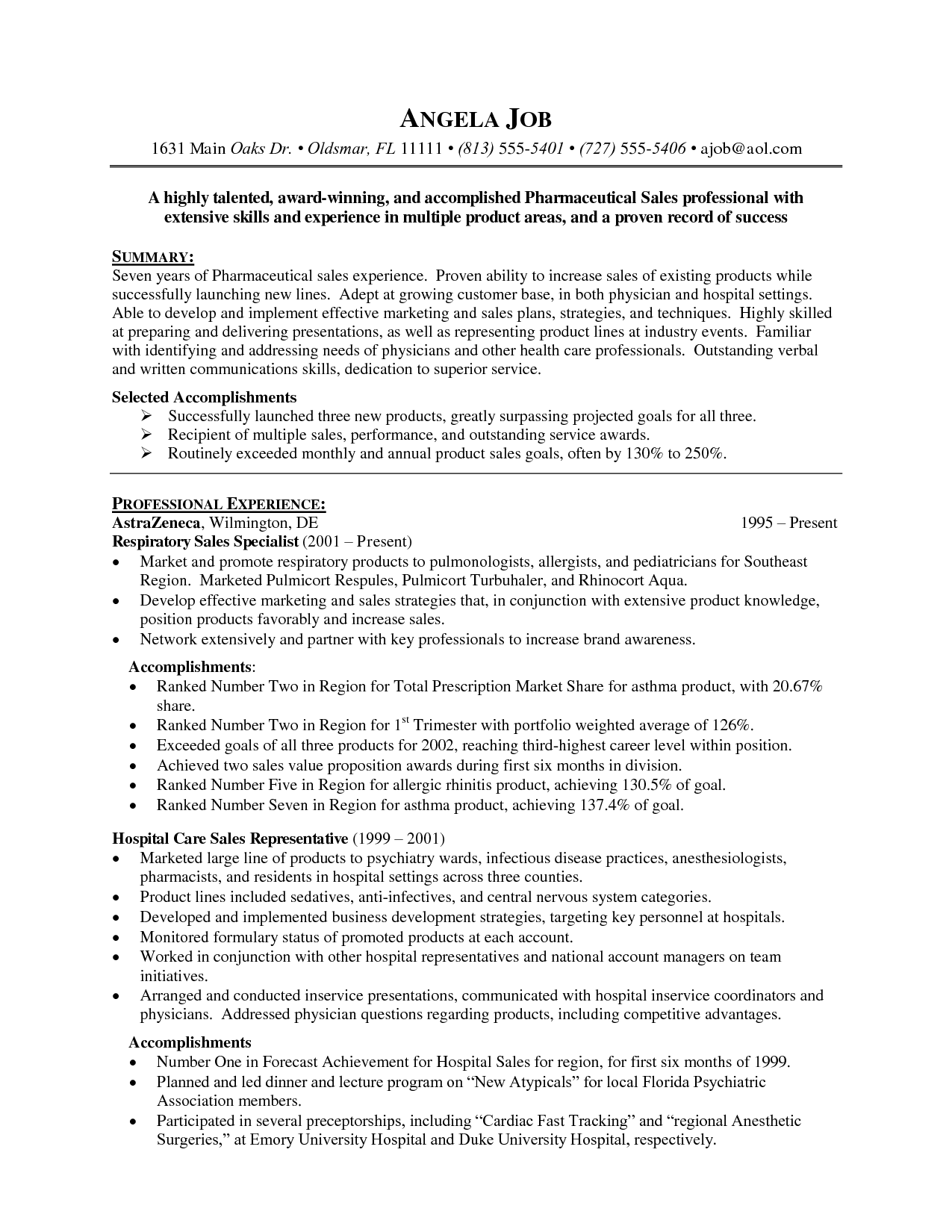 pharmaceutical sales resume examples     resumecareer info  pharmaceutical