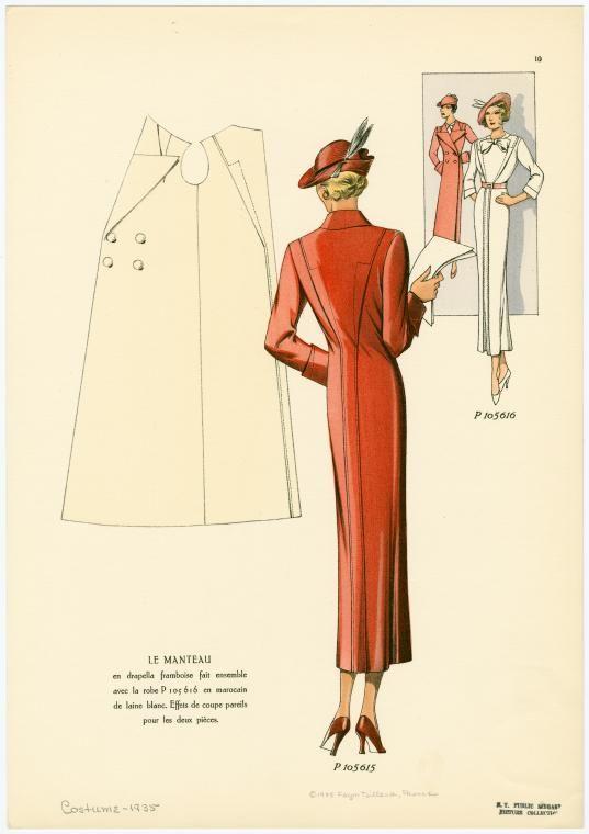 """Le manteau en drapella framboise fait ensemble avec la robe en marocain de laine blanc. Effets de coupe pareils pour les deux pièces.""""   From Façon tailleur. 1935"""