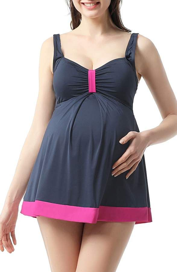 3ba60feb07 Kimi and Kai Ariana Ruched Overlay One-Piece Maternity Swimsuit ...