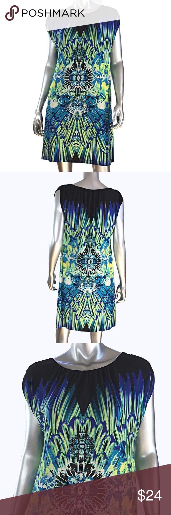 Kenar sleeveless print dress blue yellow color blue and printing