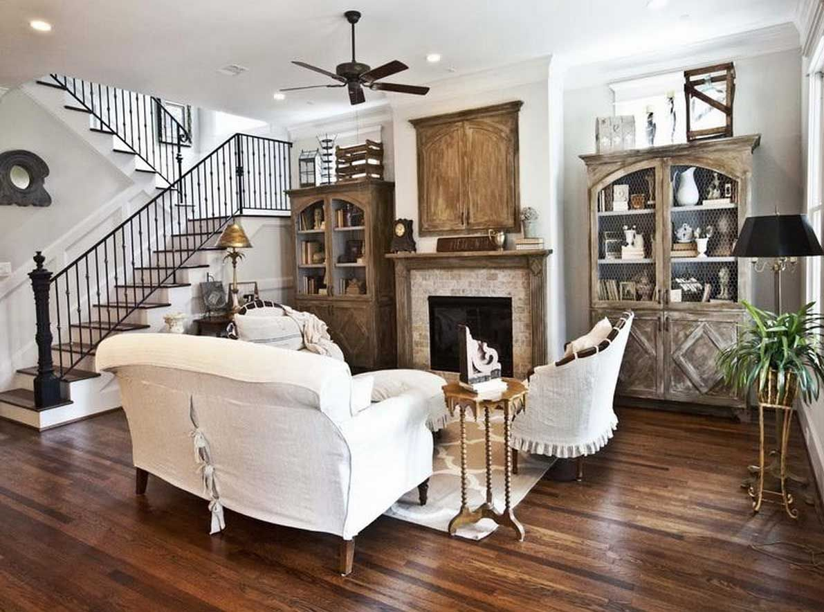 Charming Farmhouse Style Decorating With Antique Cabinet And White Sofa  With White Wall Paint Color Also