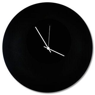 Adam Schwoeppe Blackout Circle Clock Minimalist Modern Black Wall Decor Metal Clock Metal Wall Clock Clock